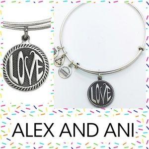 Alex & Ani Open Love Charm Bangle II Silver